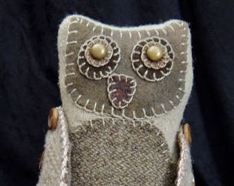 "Wool Owl Pin Keep, ""Mini Hoot"" Resting on a Vintage Pewter Base"
