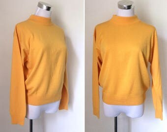 Vintage 1990s marigold mock turtleneck sweater / lightweight acrylic knit pullover - small to medium