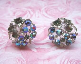 Lisner Clip On Earrings - Silver Toned Aurora Borealis