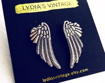 Angel Wings Stud Earrings / Silver Post Back Earrings Wedding Shower Favors Bridesmaids Bridal Party Gifts Climber Earrings Boho Bohemian