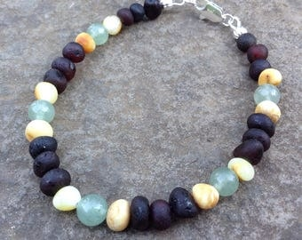 Raw Baltic Amber & Green Aventurine bracelet- reduce nausea and headaches, ease skin conditions
