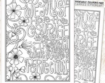 Printable Instant Download Coloring Page Hand Lettered Quote Adult Colouring Book Weight