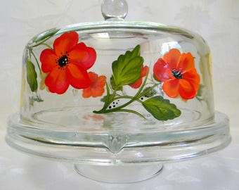 Cake dish, cake dish with poppies,Vegetable serving dish,punch bowl with ladle, hand painted cake dish, serving dish