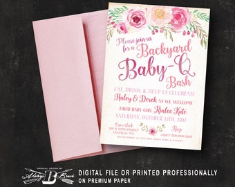 Couple's BBQ Baby Shower Invitation | Co-Ed Baby Shower Invitation | Printed Invitation or Printable Digital File | Pink Baby Q Baby Shower
