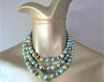 60% OFF SALE Vintage 1960's Beaded Necklace / Woman's Aqua Green Rhinestone Costume Jewelry Choker