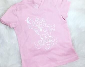 Believe in magic, toddler shirt, kids shirt, unicorn shirt, unicorn believe in magic, girls shirt, toddler girls