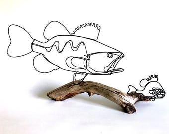 Fish Wire Sculpture, Bass Wire Sculpture, Wire Folk Art, Fish Chase Scene, 537540892