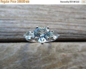 ON SALE Heart shape Sky blue topaz ring in sterling silver