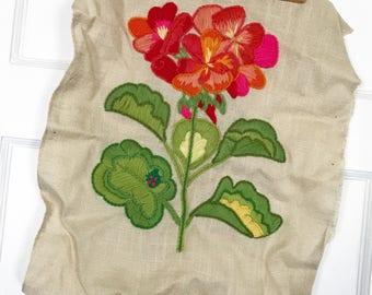 Vintage Floral Crewel Piece 1971 Pauline Denham
