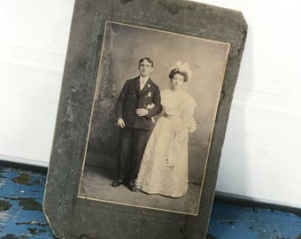 Antique Wedding Photo Cabinet Card Vintage Wedding Couple Bride and Groom Antique Bride Antique Groom