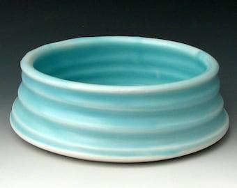 CERAMIC DOG BOWL #23 - Pottery Dog Bowl - Stoneware Dog Bowl - Pet Bowl - Dog Dish - Dog Food Bowl - Blue Dog Bowl - Studio Pottery