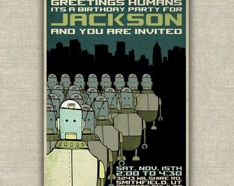 Robot invasion birthday party invitation, kids birthday party invitation, printable, science fiction, aqua, green, futuristic