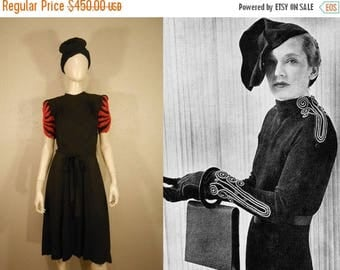 BI-ANNUAL SALE Fire Bursts Above Her Head - Vintage 1930s Black Crepe Rayon Dress w/Fire Red Flame Beading - 4/6