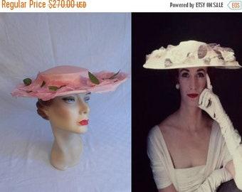 Anniversary Sale 35% Off As The Wedding Started - Vintage 1950 Bubblegum Pink Cartwheel Wide Brim Hat w/Large Florals