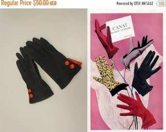 Anniversary Sale 35% Off London Society - Vintage 1950s Dark Navy Nylon & Red Leather Wrist Gloves - 6