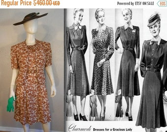 Anniversary Sale 35% Off Summer Affair - Vintage 1930s Charmode Cinnamon Brown Floral Dress w/Matching Belt Bolero Jacket  - 14/16