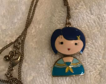 Gold Enamel Kokeshi Style Girl Articulated Necklace