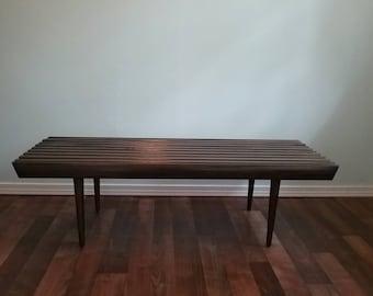 Vintage Mid Century Mod Slat Bench, Eames Era Coffee Table, Long Five Foot Walnut Yugoslavia