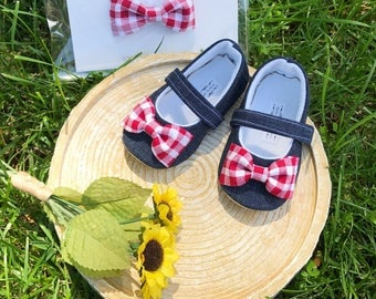 Baby Girl Shoes Toddler Girl Soft Soled Shoes Wedding Shoes Flower Girl Shoes summer  Red Gingham shoes denim shoes - Mable