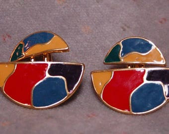 Vintage 80's Golden Colorblock Clip On Earrings