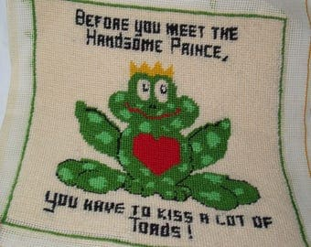 1970s Handmade Needlepoint Kiss Frogs Handsome Prince  Piece.