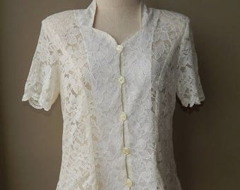 ON SALE Off White  See through Lace Queen Anne Neckline Top Blouse Bust 40 Waist 34