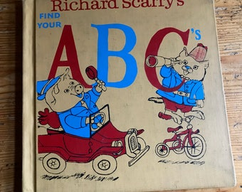 1973 Richard Scarry's Find your ABC's hardcover children's book