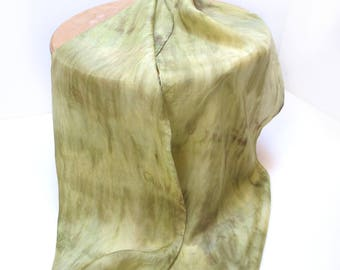 Silk Scarf Hand - Painted, Olive Greens and Khaki , Any Season Scarf, Great Giift