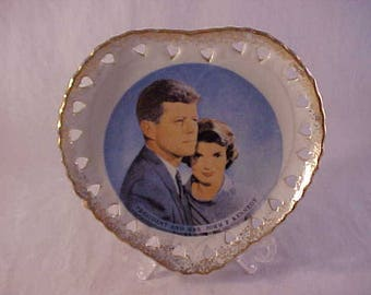 President and Mrs. John F. Kennedy Heart Shaped Porcelain Political Plate