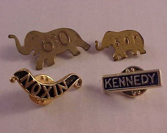 4 Kennedy and Nixon Political Campaign Pins and GOP Pins Political Collectibles