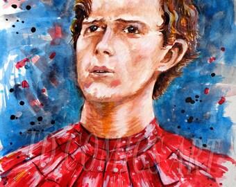 Print of Spiderman original watercolors comics art painting marvel art, Tome Holland, comics art, marvel prints, spiderman homecoming,