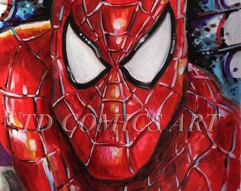 Digital download, Spiderman printable, watercolors comics art, marvel art, comics poster, comics art, marvel prints, spiderman homecoming,