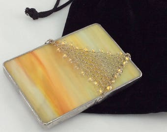 Golden Yellow and Orange Stained Glass and Hand Knit Wire Triangle Hand Mirror with case