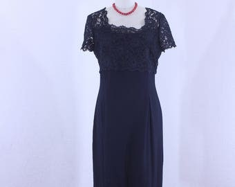 Vintage Sheath Dress  in Black With Alercon Lace by Dawn Joy Fashions