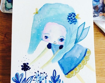 Fairy flower - children art, watercolor illustration, blue fairy, garden fairy, blue,tiny art, girls, fae, sweet art by Susana Tavares