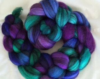 "Hand Dyed BFL Humbug Combed Top ""Fibery Jewels""  4Oz."