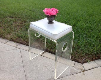 """VINTAGE LUCITE BENCH Waterfall Lucite / Lucite Bench White Vinyl 18.5"""" tall x 15.5"""" x 10"""" / Hollywood Regency Style at Retro Daisy Girl"""