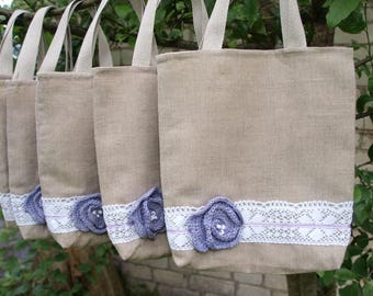 SUMMER SALE - Set of 6 Linen Tote Bags Bridesmaids Tote Bags Linen gift bags Totes Rustic  Wedding Tote Bags