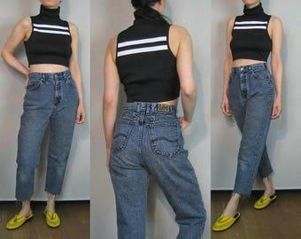 Lee Faded Blue Black Raw Hem Jeans / 80s 26 Waist Lee Jeans / Cropped Frayed Hem Jeans / High Waist Tapered Jeans / 26x24 jeans