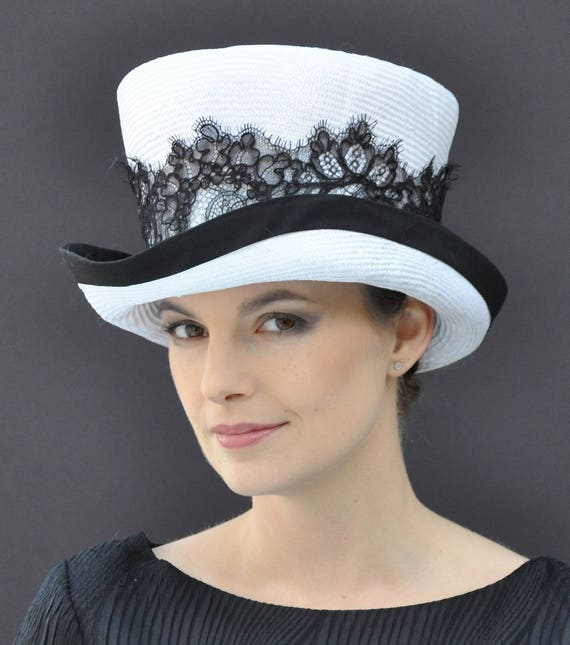 Kentucky Derby Hat. Top Hat, Black & White Hat, Black Lace Hat, Formal Hat, Victorian English Riding Hat. Ascot Hat. Melbourne Cup Hat