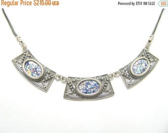 Summer Sale One Of A Kind 925 Silver Yemenite Filigree Roman Glass Necklace