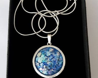Hand Made 925 Silver Roman Glass Pendant Necklace