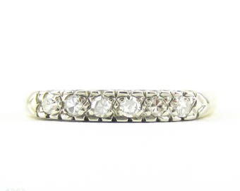 Vintage 1940s Diamond Wedding Ring, Half Hoop 6 Stone Diamond Wedding Band in Two-Toned 14K Gold.