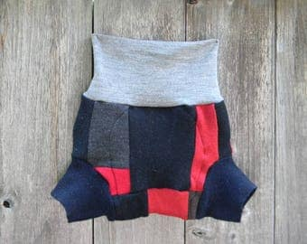 Upcycled Wool  Soaker Cover Diaper Cover With Added Doubler Boy's Patchwork Scrappy MEDIUM 6-12M Kidsgogreen