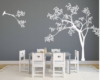 Nursery White Tree Decal - Nursery Wall Decals - Tree wall mural - Kids wall decal - Flowers and Bird tree Decals  - Baby Wall Decor