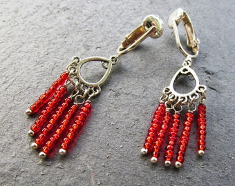 Little red earrings, small chandelier, clip on or pierced