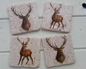 Country Deer (small print) Stone Coaster Set of 4 Tea Coffee Beer Coasters