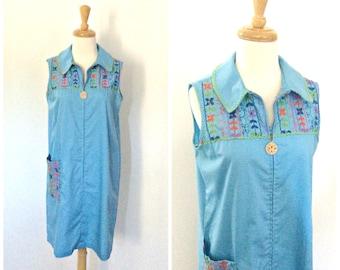1960's Dress - Shift Dress - Cotton Dress - Embroidered - Womens Sundress - Aline - Sleeveless - Medium