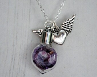 Amethyst Crystals Necklace, Winged Heart Pendant, Love And Protection, Sterling Silver, February Birthstone, Amethyst Crystals, Heart Charm