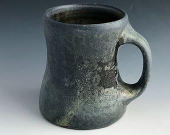 Wood Fired Pottery Mug, Black and Gray with Colorful Shino Liner Glaze and Crystals, Dark Coffee Mug, Organic Form, Blended Handle, 8 oz.